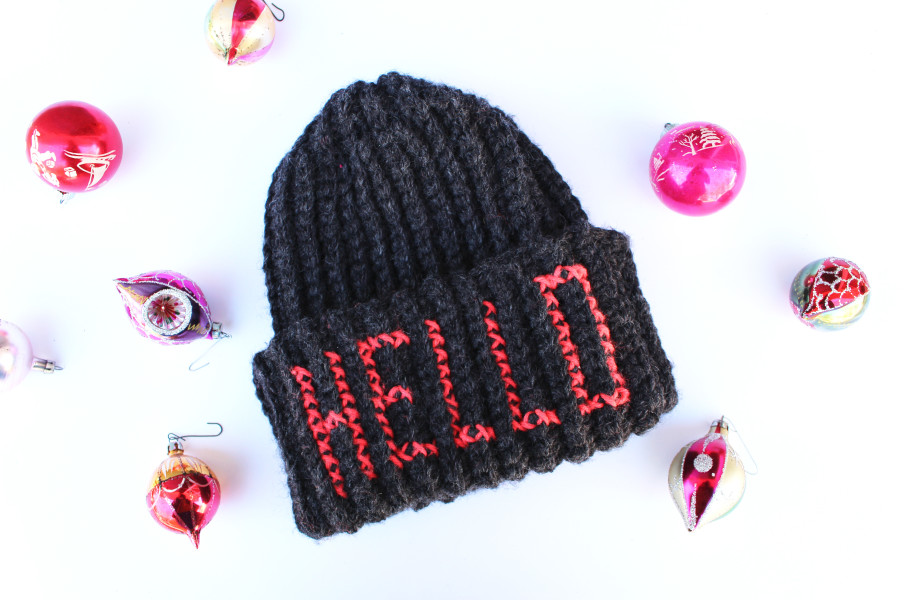DIY: Embroidered Letters Beanie Hat
